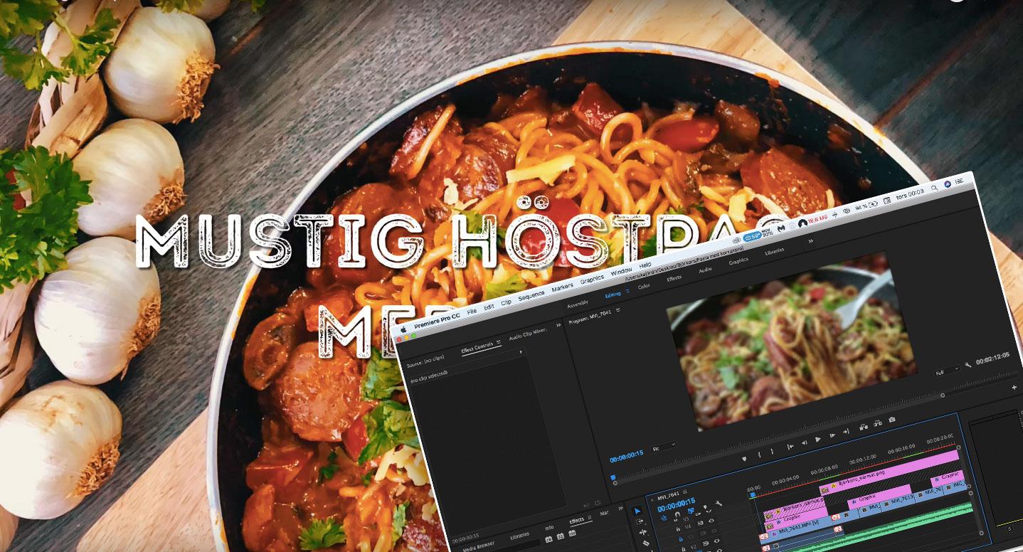 Adobe premiere används vid redigering av matvideo